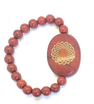 Sahasrara Symbol Engraved Crystal Bracelet: Red Jasper