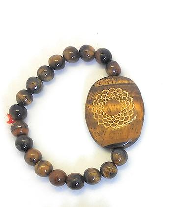 Sahasrara Symbol Engraved Crystal Bracelet: Tiger Eye