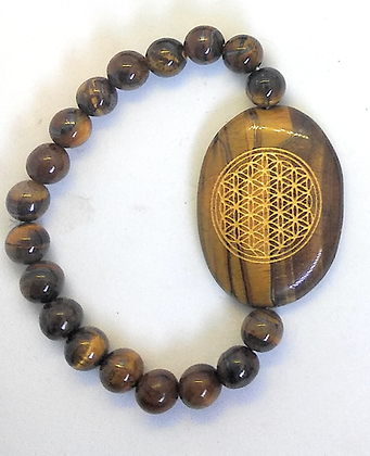 Flower Of Life Engraved Crystal Bracelet: Tiger Eye