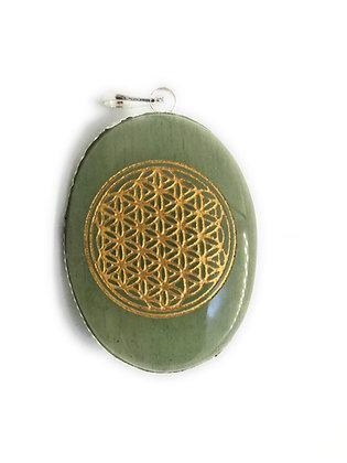Flower of Life Pendant: Jade