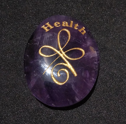 ZIBU symbol engraving on crystal pebble :For Health