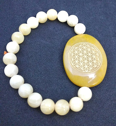 Flower Of Life Engraved Crystal Bracelet:Yellow Aventurine