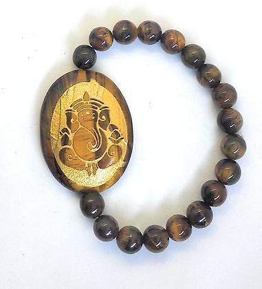Ganesha Engraved Crystal Bracelet:Tiger Eye