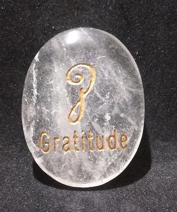 ZIBU symbol engraving on crystal pebble : Gratitude