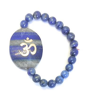 OM Symbol Engraved Crystal Bracelet: Lapis Lazuli