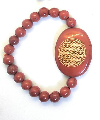 Flower Of Life Engraved Crystal Bracelet: Red Jasper