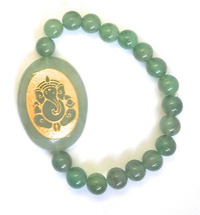 Ganesha Engraved Crystal Bracelet:Jade