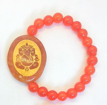 Ganesha Engraved Crystal Bracelet:Carnelian