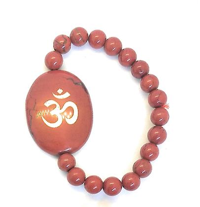 OM Symbol Engraved Crystal Bracelet: Red Jasper