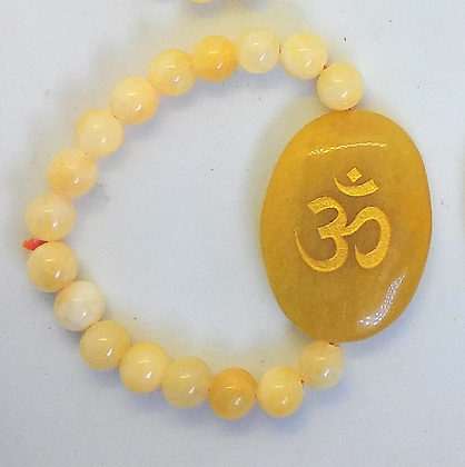 OM Symbol Engraved Crystal Bracelet:Yellow Aventurine