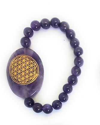 Flower Of Life Engraved Crystal Bracelet: Amethyst
