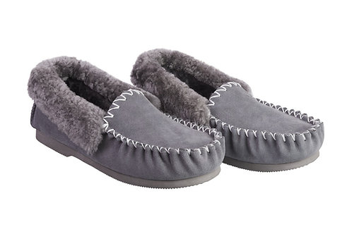 Sheepskin Moccasins  -  Grey, Black