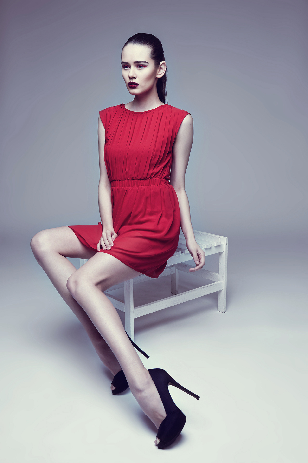 Fashion Model in Red Dress