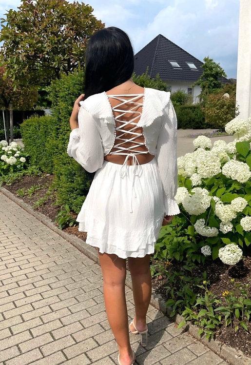 Frill Lace Up Back Dress