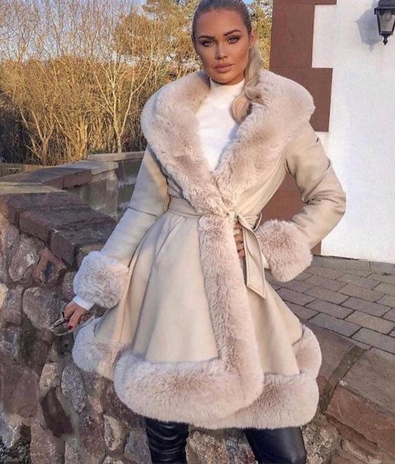 Faux Leather Jacket With Faux Fur Trim Long