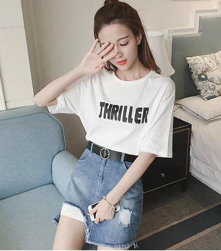 2 Piece Loose Long T-shirt & Skirt