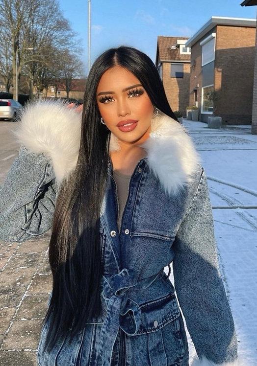 Belted Faux Fur Denim Jacket