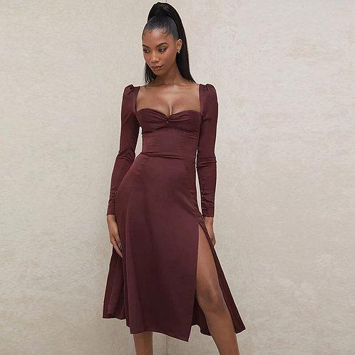 Wine Puff Sleeve High Split Dress