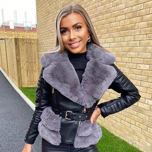 Faux Leather Fur Trim Belted Biker Jacket