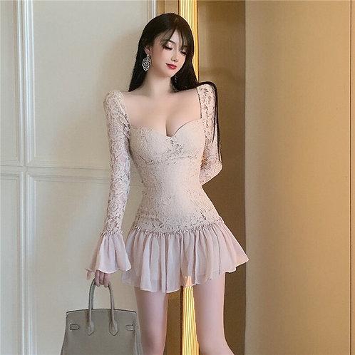 Lace And Mesh Ruffle Dress