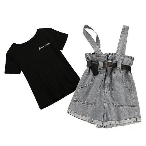 T shirt+high waist denim strap shorts