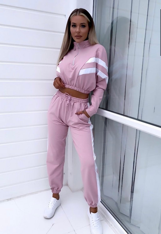 Striped Zip Front Joggers Set