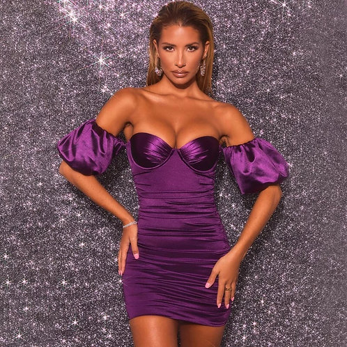 Satin Ruched Off Shoulder Bodycon