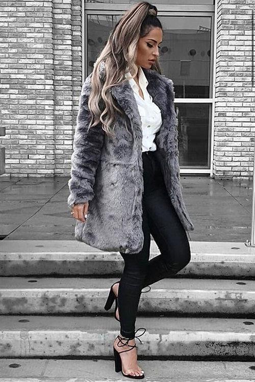 Grey Midi Faux Fur Coat