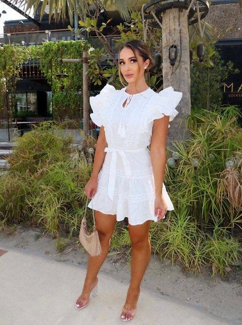 White Frill Detail Lace Trim Waist Tie Mini Dress