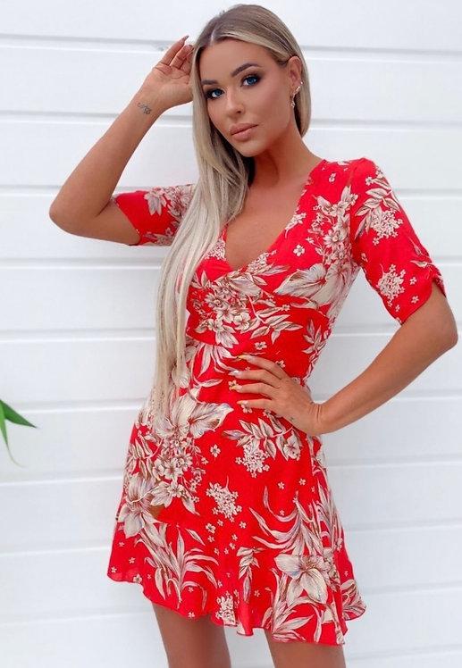 Red Floral V Neck Short Sleeve Frill Hem Mini Dress
