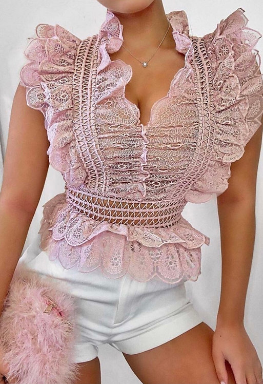 Crochet Lace Frill Neck & Sleeve Detail Top