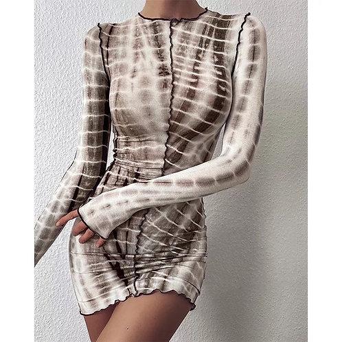 Stripe Tie-Dye Print Bodycon