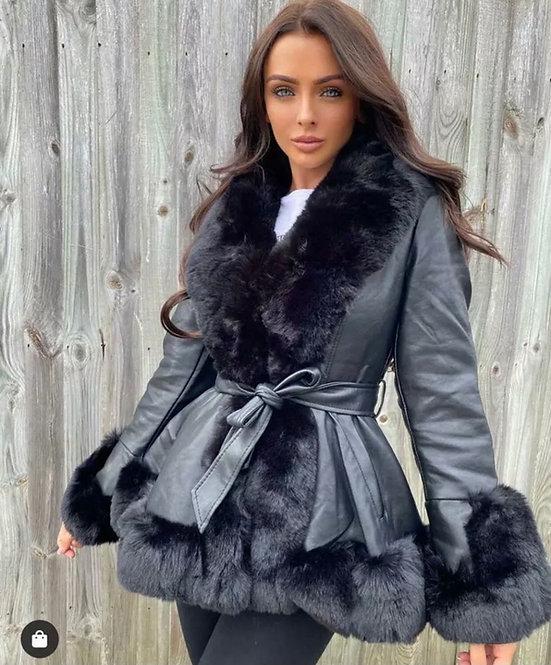 Faux Leather Jacket With Faux Fur Trim Short