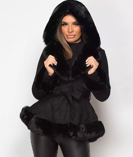 Suede Hooded Jacket With Faux Fur Trim