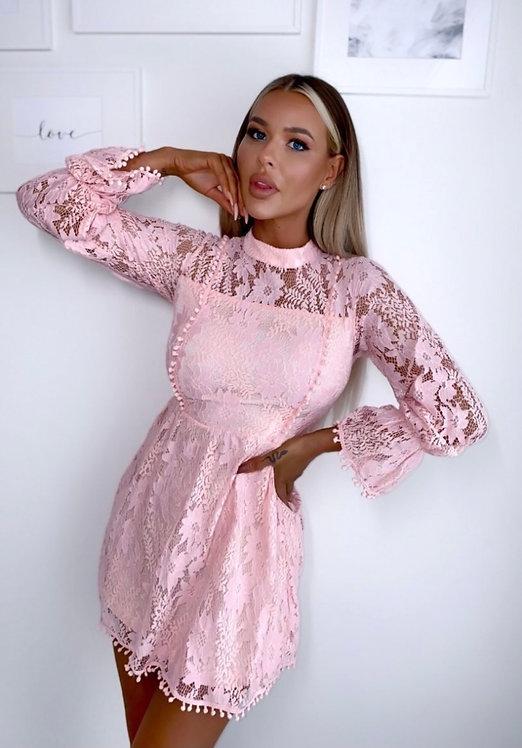 Lace High Neck Mini Dress