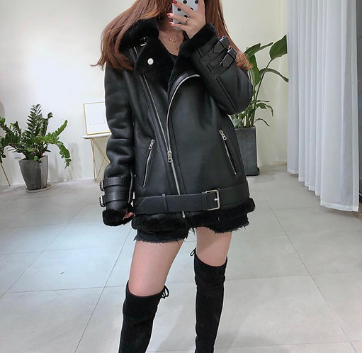 Oversized Leather With Fur Trim Jacket