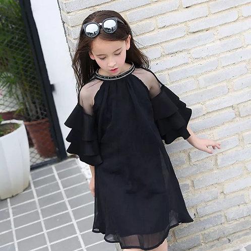 Ruffle Sleeves Chiffon Dress