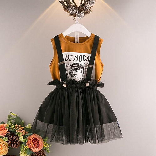 Girls Top with Braces Mesh Skirt
