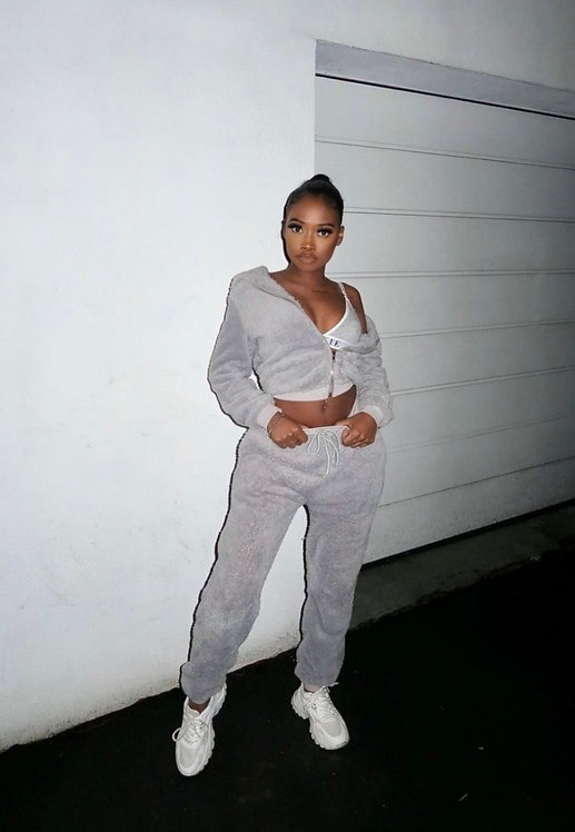 Teddy Borg Zip Cropped Top & Jogger Lounge Set