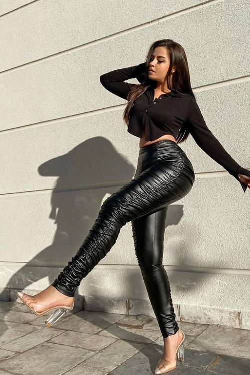 Ruched Skinny Leather Trousers