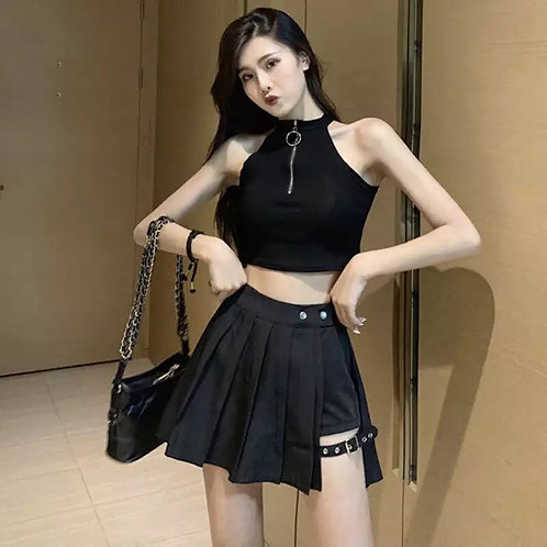Mini Pleated Asymmetric Cut-Out Skirt