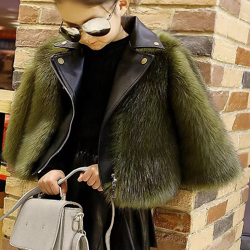 Girls Fur with Leather Jacket