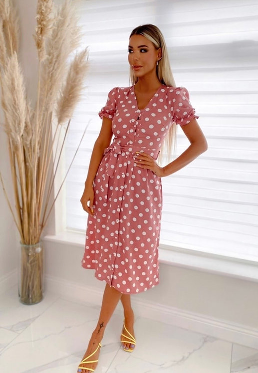 Puff Sleeve Polka Dot Belted Midi Dress