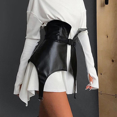 PU Leather Belt Corset Skirt