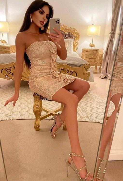 Nude Sequin Frill Front Bandeau Mini Dress