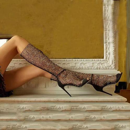 Long Glitter Peep Toe Ankle Boots