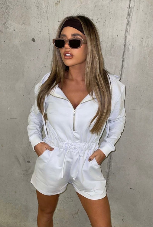Zip Front Long Sleeve Hooded Playsuit