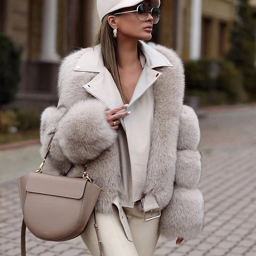 Faux Sheep Fur & Leather Motorcycle Jacket