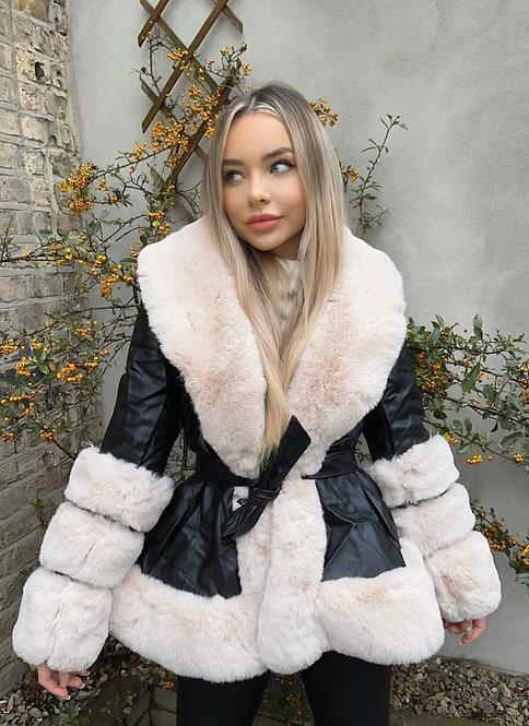 Faux Leather Jacket With Faux Fur Triple Trim Short