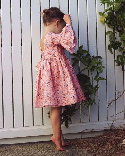 Girls Backless Floral Boho Dress